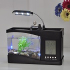 USB Powered Desktop Fish Tank Aquarium with 6-LED White Light & LCD Time Display (1.5L)