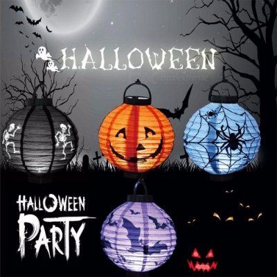 LED Round Hanging Paper Lantern, Halloween Props Foldable Ghost Light For Home Yard Party Holiday Lighting Decor White/0-5W