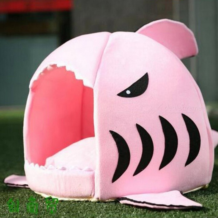 Soft Dog House Warm Shark Style Dog House Tent High Quality Cotton Small Dog Cat Bed Puppy House Pet Products Pink/S