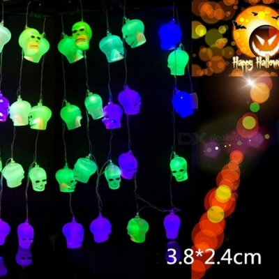 10 LED Hanging Halloween Decor Pumpkins Skull LED String Lights Lanterns Lamp For DIY Home Decor /Outdoor Party RGB/0-5W