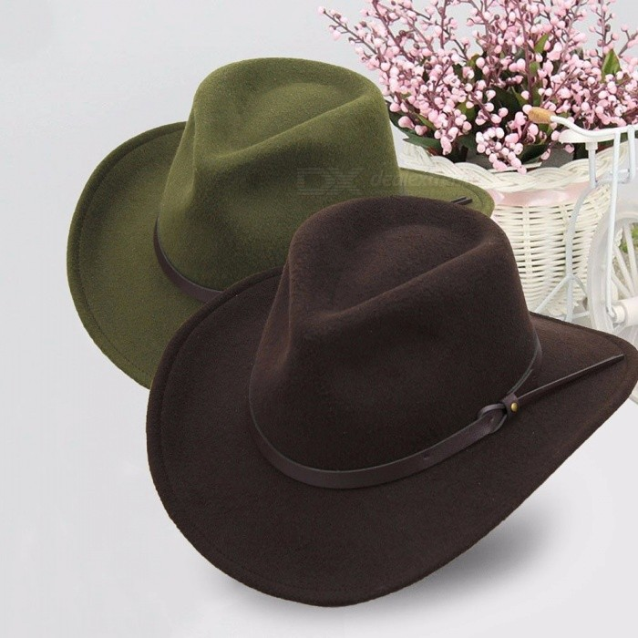 Western Cowboy Hats For Men Wide Brim Sun Visor Cap Sombreros Autumn Winter  Felt Hat Male Cowboy Caps Caffee - Worldwide Free Shipping - DX 4901deb2e4f