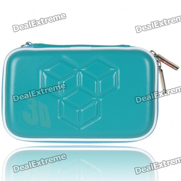 Hard Protective Carrying Pouch with Rubber Strap & Cleaning Cloth for Nintendo 3DS - Blue