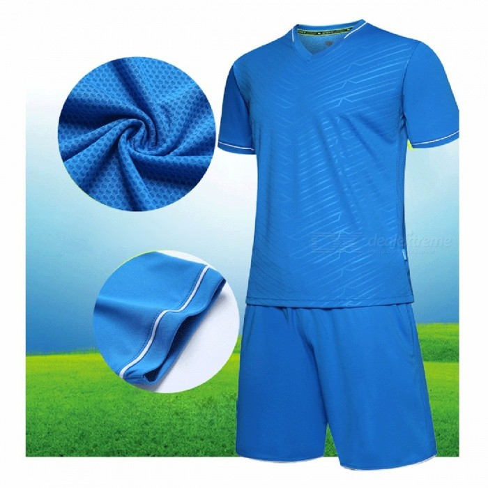 Image of Men s Short Sleeve Sport Pajama Sets Summer Home Leisure Breathable Comfortable Quick Dry Blue L