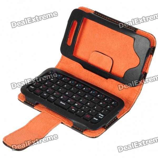 2.4GHz 49-Key Mini Rechargeable Bluetooth V2.0 QWERTY Keyboard with PU Leather Case for iPhone 4