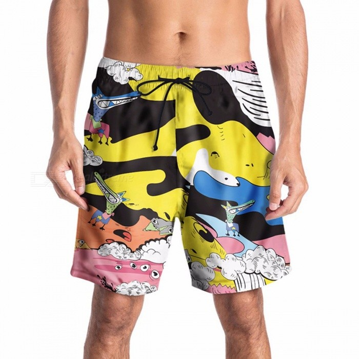 ac64e04282 Summer Male Swimming Trunks Creative Cartoon Printing Beach Pants Tide  Brand Loose Casual Large Size Pants Multi/M - Free shipping - DealExtreme