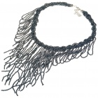 Fashion Elegant Glass Beads Necklace - Dark Blue (43~51CM Length)