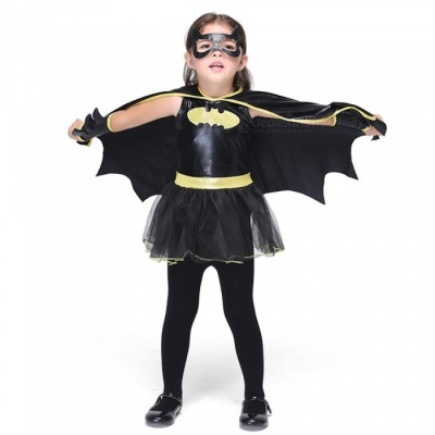 Halloween Costumes For Girls Children Performance Clothing  Cosplay Batman Dance Clothes Black/S/Batman