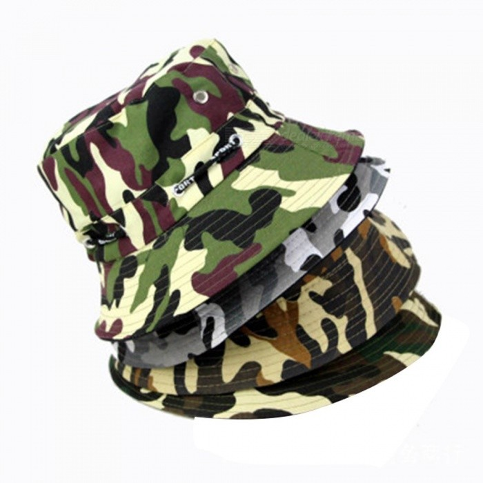 0704e1f07d5 Camouflage Pot Cap Men And Women Fisherman Hat Outdoor Travel Hat Fishing  Hat Mountaineering Sun Hat Gray