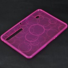 Protective Rubber Gel Silicone Back Case for MOTO XOOM - Rose Red