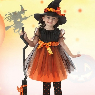 Girls Cosplay Princess Dress Children\'s Halloween Witch Pumpkin Costume  Teenage Kid Clothes Black/L/Other