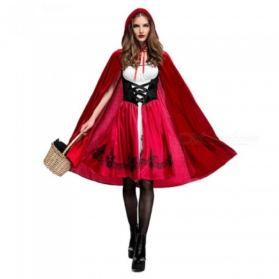 Little Red Riding Hood Cosplay Clothing Halloween Stage Dress + Hooded Cloak Set Party Adult Sexy Cosplay Costume Red/XL/Red Riding Hood