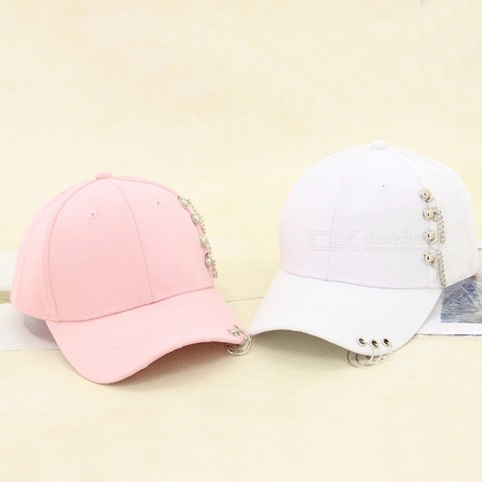 132d3627 Snapback Hat Women Men Korean Personality Three-ring Chain Baseball Caps  Summer Casual Cap Hip Hop Cap Shade Hat Pink - Worldwide Free Shipping - DX