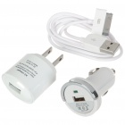 AC/Car Power Adapters + USB Data & Charging Cable Charger Set for iPad/iPhone - White (110~240V)