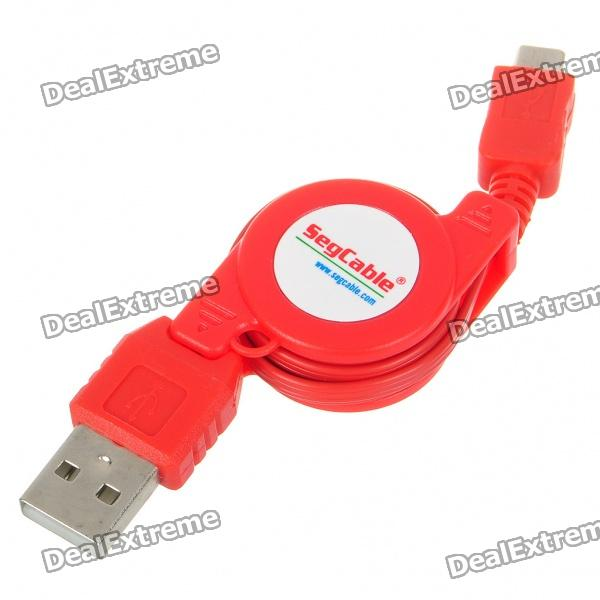 USB to Micro USB Retractable Charging Cable for Nokia/Moto/Samsung/LG/HTC/Blackberry + More - Red