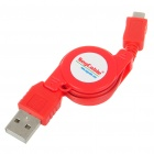 Buy USB Micro Retractable Charging Cable Nokia/Moto/Samsung/LG/HTC/Blackberry + - Red