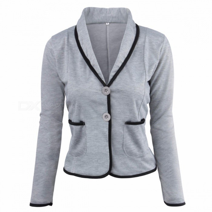 Chic Women's Slim Long Sleeve Small Suit Short Coat Outer Lapel Jacket Blazer B