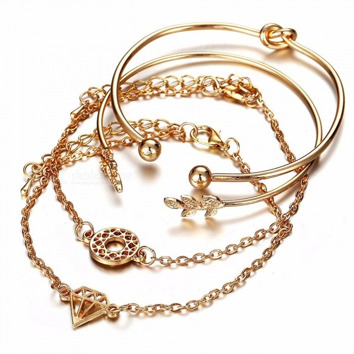 European And American Style 4-Piece Fashion Personality Leaf Open Bracelet Suit Gold
