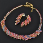 Elegant Crystal Necklace & Earrings Jewelry Set - Multi Colored