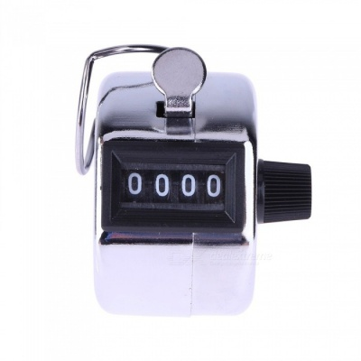 Hand Held Digital Recorder Tally Counter 4 Digit Number Hand Held Manual Counting Golf Clicker Training Metal Counter Silver