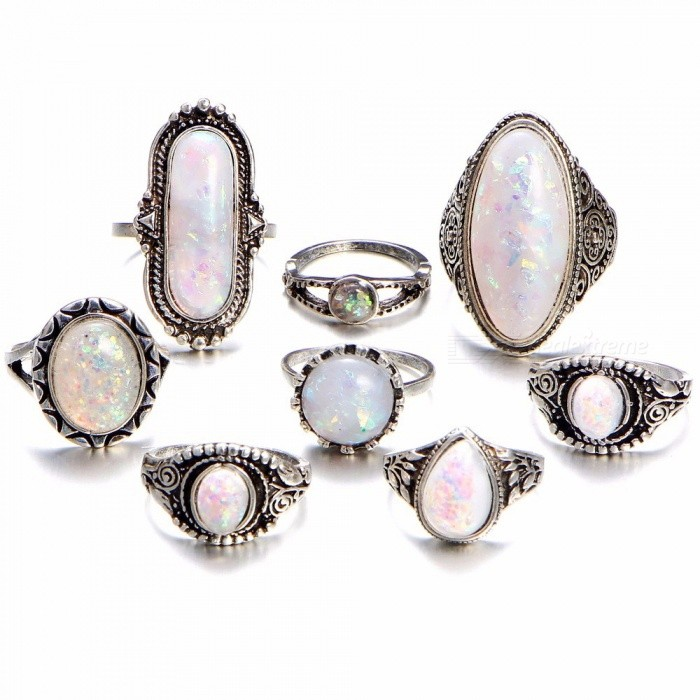 b578eb818 8Pcs/set Women's Sterling Silver Rings Set With Natural Gemstone Fire Opal  Diamond Ring Retro Jewelry Set Silver - Free shipping - DealExtreme