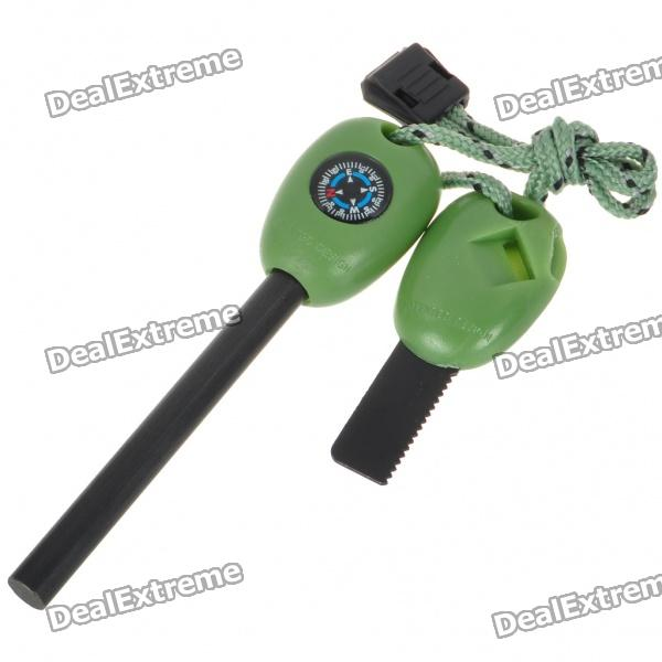 Wilderness Survival Multi-Function Tools Flint + Whistle + Compass + Saws + Ruler - Green