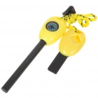 Wilderness Survival Multi-Function Tools Flint + Whistle + Compass + Saws + Ruler - Yellow