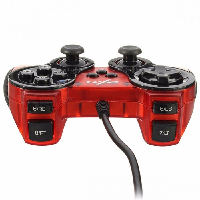 USB Wired Gamepad Dual Vibration Joystick Turbo Function Gaming Controller  For PC Computer For Windows Red