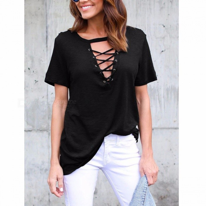 Summer Loose Women's Casual T-shirt Sexy V-neck Cross Straps Hollow Out Short-sleeve Shirt Black/S