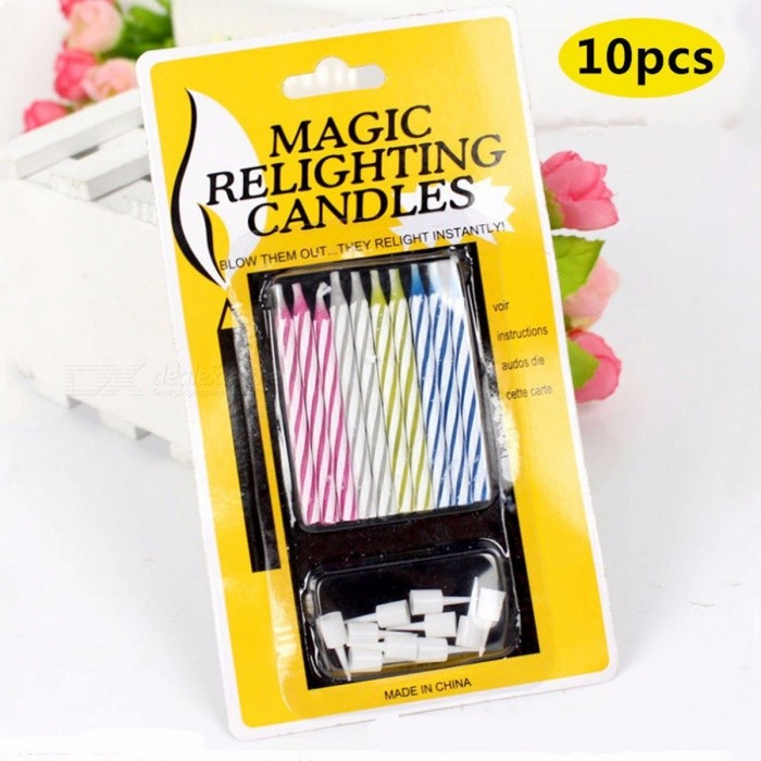10Pcs Magic Relighting Candles Prank Toys Funny Birthday Candle Creative Novelty Blowing Immortal Multicolor OneSize