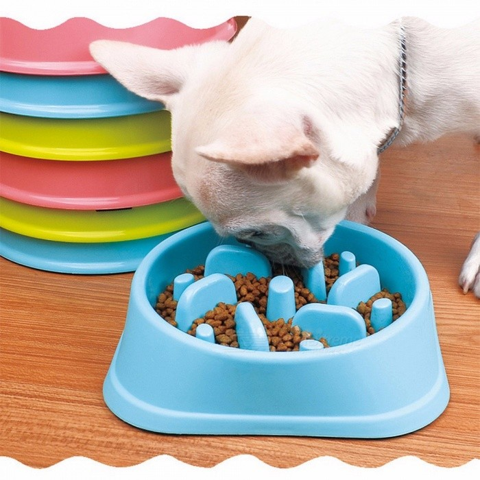 Plastic Pet Feeder Anti Choke Dog Bowl Puppy Cat Slow Down Eatting Feeder Healthy Diet Dish Jungle Design 3Colors Multi