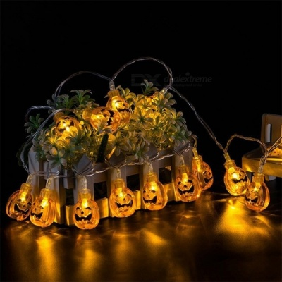 10-LED Hanging Halloween Decor Pumpkin LED String Light Lantern Lamp For DIY Home Outdoor Party Decoration Warm White/0-5W
