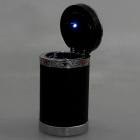 Cup Shaped Ashtray with Solar Powered Blue LED Light for Car - Black + Silver