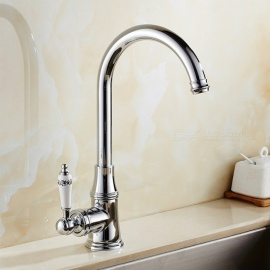Brass Chrome 360 Degree Rotatable Ceramic Valve Single Handle One-Hole Kitchen FaucetOther Regions/Countries