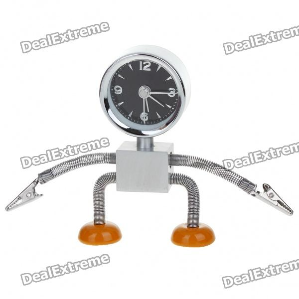 Stainless Steel Robot Alarm Clock with Clamps (1 x LR44)