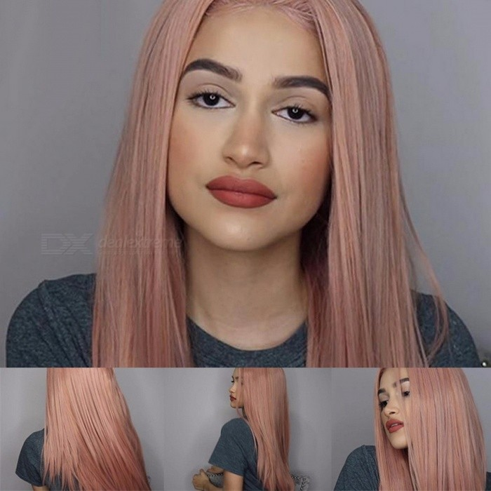 Pink Long Straight Synthetic Wigs For Women f83faacb58