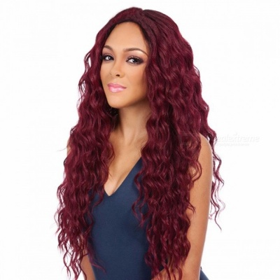 30 Inches 77cm Wine Red Long Curly Cosplay Wig, Synthetic Hair Hairpiece For Lady 30inches