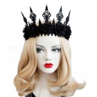 FD-95 Gothic Black Flower Crown Cosplay Party Hair Jewelry Night Club Headband Halloween Hair Band For Girl Black