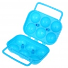 Portable Folding Durable PVC 6-Egg Carrying Case - Blue