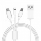 1.2m USB 2.0 High Speed 3 in 1 Type-C + 8 Pin + Micro USB Charging Cable