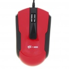 MCSaite USB 2.0 600/1000/1600DPI Optical Mouse - Black + Red (130CM-Cable)