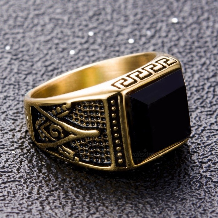 Men Jewelry Stainless Steel Ring Fashion Gold Zircon Masonic Ring For Men  Great Wall Pattern 7 Gold - Free shipping - DealExtreme 93d4fc17729