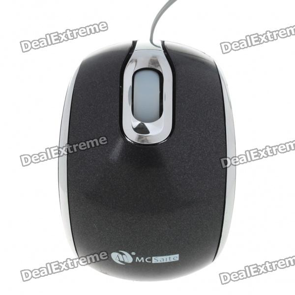 MCSaite USB 2.0 800DPI Optical Mouse with Retractable Cable - Black (70CM-Cable)