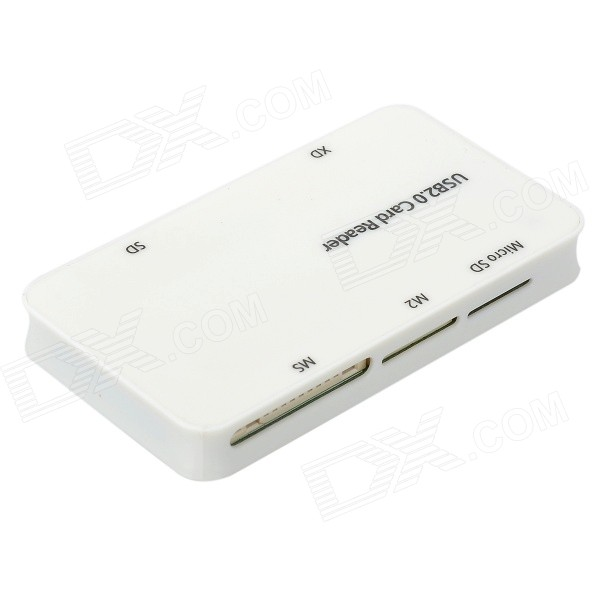 All-in-One USB 2.0 MS/M2/MicroSD/SD/XD Card Reader - White