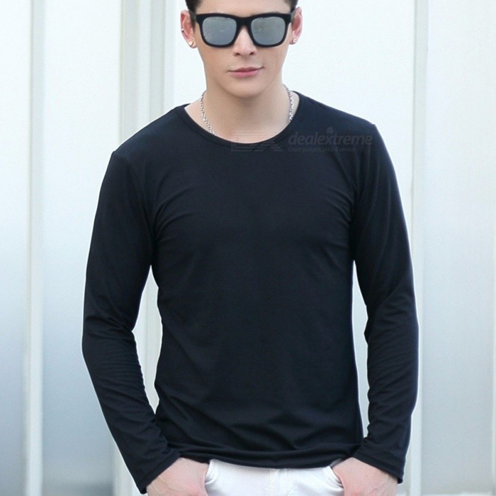 dba3057a48 New Men\'s T-shirt Solid Color Round Neck Long-sleeved Korean Fashion Slim  T-shirt White/XXL