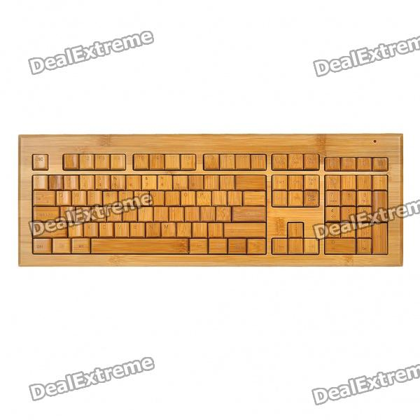 108-Key Compact Slim Wireless USB All Bamboo Keyboard with USB Receiver (2 x AAA)