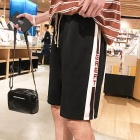 2018 New Summer Casual Pants Elastic Tape Stitching Striped Men Trend Pants Five Cents Straight Trousers Red/XXXL