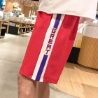 2018 New Summer Casual Pants Elastic Tape Stitching Striped Men Trend Pants Five Cents Straight Trousers Red/XXL