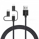 Cwxuan 3 in 1 USB 2.0 to Type-C / 8-Pin / Micro USB Charging Sync Data Cable for Xiaomi, Huawei, Vivo, Samsung, IPHONE - (100cm)