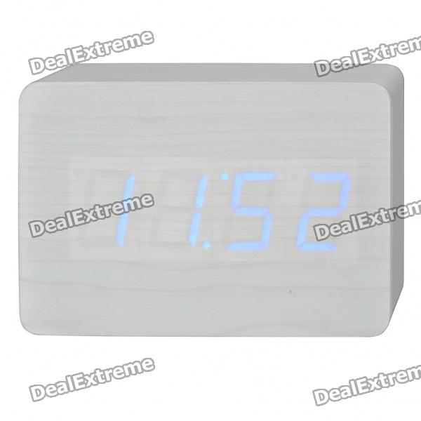 Wood Wooden Decorative Desktop Clock - Blue LED Light Display (4 x AA)