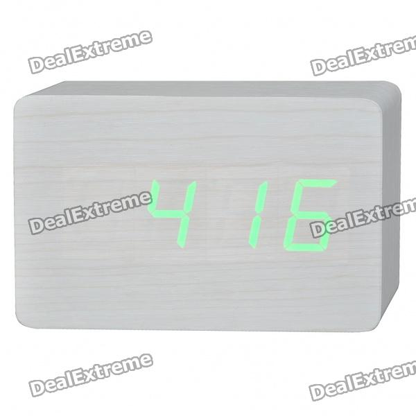 Wood Wooden Decorative Desktop Clock - Green LED Light Display (4 x AA)